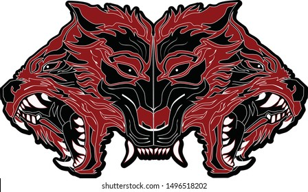 head cerberus logo frome hell ready to fight