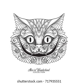 The head of the Cheshire cat from the fairy tale Alice in Wonde