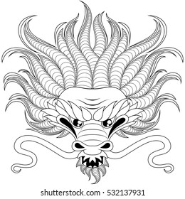 Head of chinese dragon in zentangle style for tatoo. Adult antistress coloring page. Black and white hand drawn doodle for coloring book