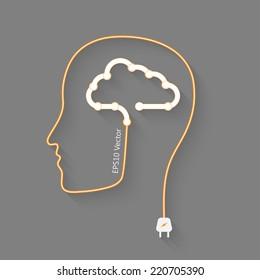 head with cloud as a brain, idea eps10 vector concept