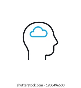 Head with cloud, mood swigns symbol - simple line icon vector