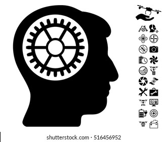 Head Cogwheel icon with bonus aircopter service pictograms. Vector illustration style is flat iconic symbols on white background.