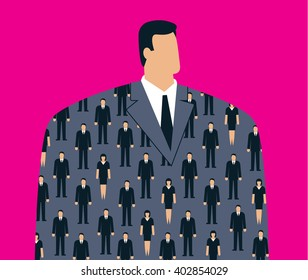 Head of company in clerked suit jacket. This illustration is for a business magazine or article about corporate culture and chairman of a company. Vector illustration.
