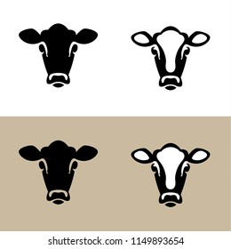 Head of a Cow (Calf), vector icon (sign, pictogram). Flat, detailed. Vector icons – on white and craft paper color