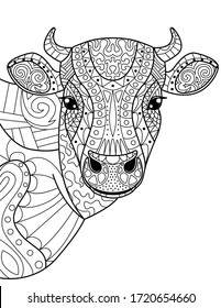 Head cow coloring book for adults vector illustration. Anti-stress coloring for adult. Cow zentangle style. Black and white lines.