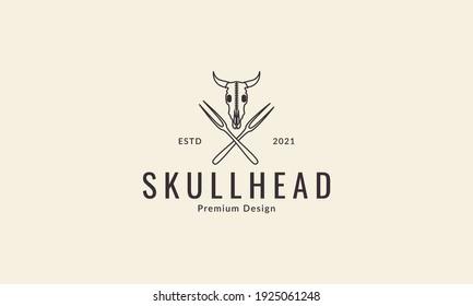 head cow skull grill logo design vector icon symbol illustration