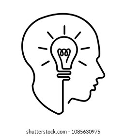 Head creating a new idea, imagination and success, icon vector