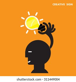 Head and Creative bulb light idea,flat design.Concept of ideas inspiration,innovation, invention, effective thinking, knowledge and education. Business concept and businessman hand.Vector illustration