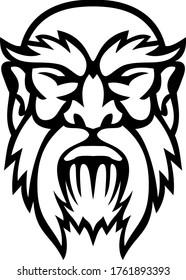 Head of Cronus Greek God Front View Mascot Black and White