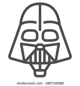 Head of Darth Vader air balloon with basket line icon, Balloons festival concept, kids air travel sign on white background, Darth Vader hot air balloon icon outline style. Vector graphics