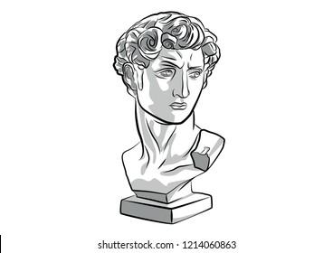 Head of David Goliath statue sculpture vector Ancient Antique
