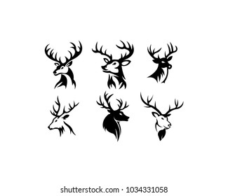 head deer animals silhouette vector set