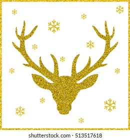 Head of deer with big horns. Trendy gold glitter texture.