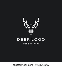 head deer hunter logo type, template, and vector