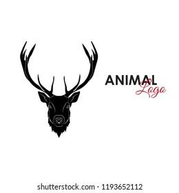 Head deer icon logo symbol vector illustration