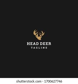 Head Deer logo template design in Vector illustration