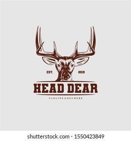 head deer vintage -logo design