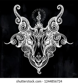 Head of demon Baphomet. Satanic goat head. Binary satanic symbol. Vector illustration isolated. Tattoo design, retro, music, summer, print symbol for biker black metal themes.