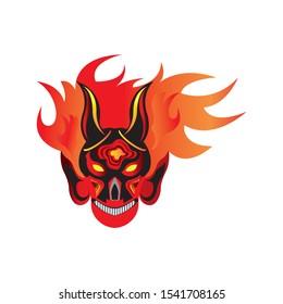 Head Devil Skull on Red Fire Vector Illustration