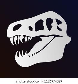 Head of dinosaur, skeleton, bones, head of tyrannosaurus, history, science, head of dinosaur skeleton. Modern vector flat design image isolated on black background