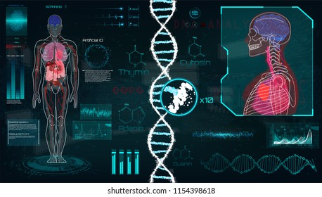 Head Up Display (HUD) UI for Medical App, Futuristic Medical HUD Interface, virtual graphic touch UI with illustration of Brain Scan, Heart Scan, DNA, Human Body, statistic and Electrocardiogram.