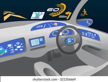 Head up display (HUD) and various displays in car, image illustration