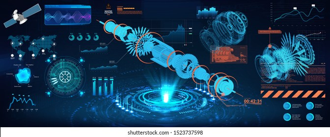 Head up display - project, holograms mechanisms. Jet engine blueprint and gear xray with futuristic HUD interface. Futuristic Geometric Parts of the Mechanism. Vector illustration