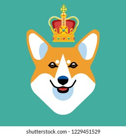 The head of a dog breed Corgi with the British crown. Stylish vector image of the animal.