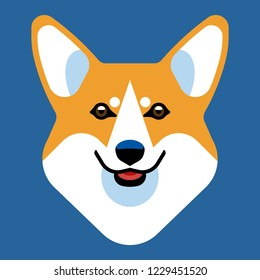 The head of a dog breed Corgi. Stylish vector image of the animal.