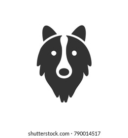 head dog icon, border collie head