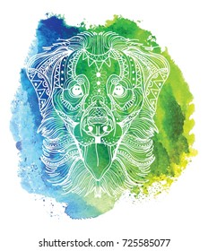 The head of a dog. Labrador retriever. Drawing by hand in vintage style. Meditative coloring. coloring for children. A horse with a long mane. Arrows, points, patterns.