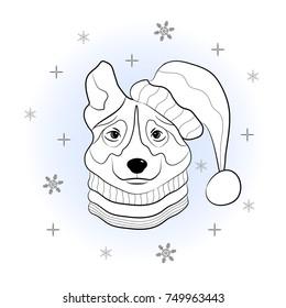 Head Dog Winter Hat Scarf Set Stock Vector (Royalty Free) 750529333   280x260