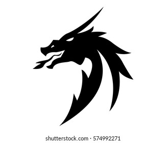 Head dragon flat color logo template vector illustration