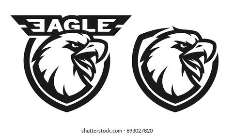 Head of the eagle, monochrome logo. Two versions.