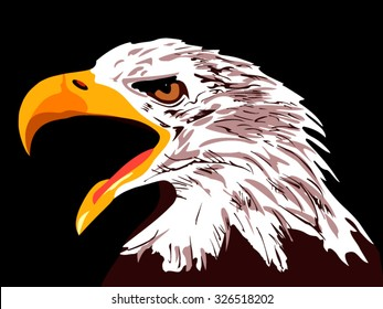 The head of an eagle on a black background. Vector illustration. Eagle with open beak. Eagle wants to eat. Eagle screaming. Emotional eagle suit to attract attention.