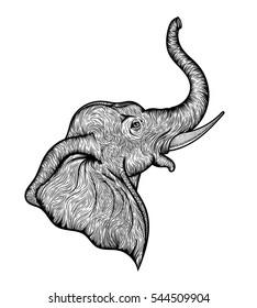Head of a elephant in profile line art boho design. Illustration of Indian God Ganesha. Vector sketch