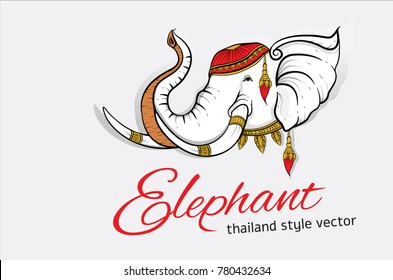 Head elephant symbol graphic thailand style, vector