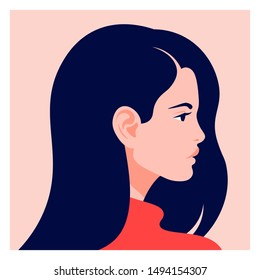 The head of a European girl in profile. Portrait of a brunette woman. Social Media Avatar. Vector Flat Illustration