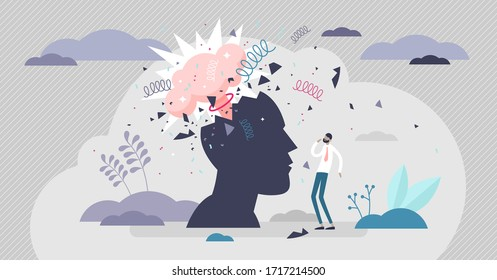 Head explode vector illustration. Mind blowing pressure flat tiny person concept. Abstract human silhouette with mental mind blast and explosion. Not handling stress situation and anger problem crisis