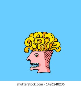 A head with an exposed skull full of question marks for the concept of lost and confuse. Hand drawn vector illustration.