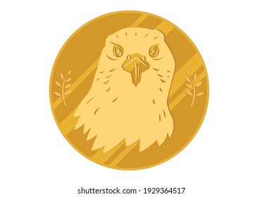 Head of a falcon on a golden circle or coin with olive tree, Editable