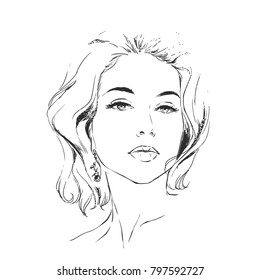 Head of fashion glamour woman. Young pretty girl on white isolated background. Sketch, scribble type