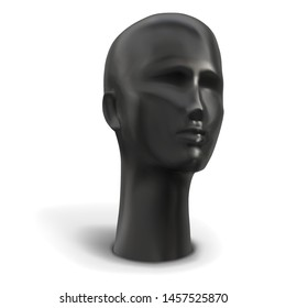 Head of female mannequin black color. Vector illustration.