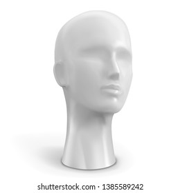Head of female mannequin white color. Vector illustration.