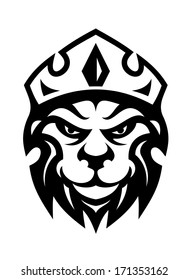 Head of a fierce crowned lion logo depicting royalty in a black and white design suitable for heraldry