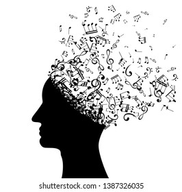 Head with flying notes . Vector isolated decoration element from scattered silhouettes. Conceptual illustration of creative thinking, brainpower and  innovation exploration.