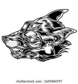 Head Fox Alone Tattoo on Circle Red  Vector