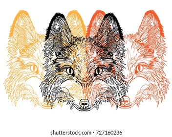 seamless pattern patterns foxes animals plyapah stock vector