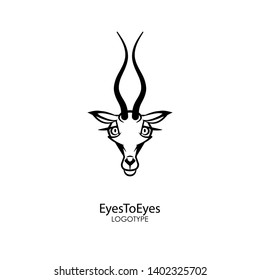 The head of a funny and cute gazelle with an alluring look on a white background. Sticker, pattern, background, decor. Vector illustration. Cartoon character of the southern inhabitant. Eyes to eyes!