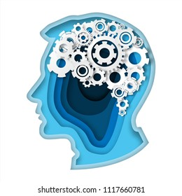 Head with gear brain paper art style thinking concept paper cut  blue color in head human vector